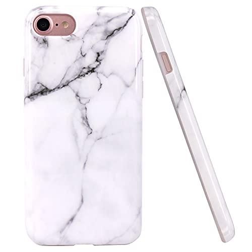 JIAXIUFEN Bianco Marmo Design TPU Gel Silicone Protettivo Skin Custodia Protettiva Shell Case Cover Compatibile con iPhone 7 iPhone 8