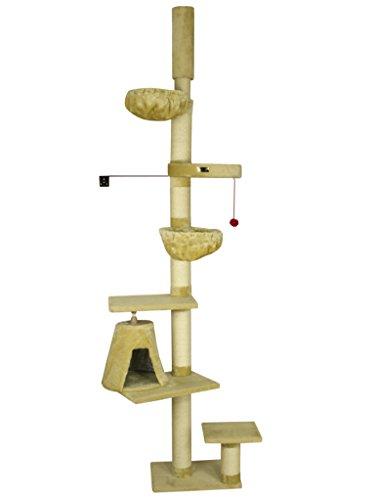 ARMARKAT Kratzbaum in Farbe Beige deckenhoch bis 278 cm mit Wandhalter Deckenspanner stabil