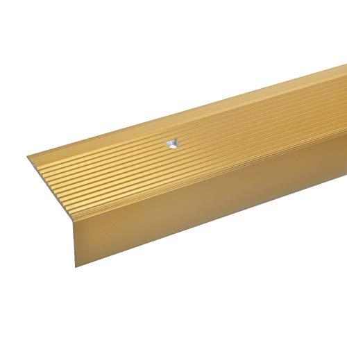 acerto 34010 Aluminium Treppenwinkel-Profil - 100cm, 28x50mm, gold * Rutschhemmend * Robust * Leichte Montage | Treppenkanten-Profil, Treppenstufen-Profil aus Alu | Gelochtes Stufenkanten-Profil