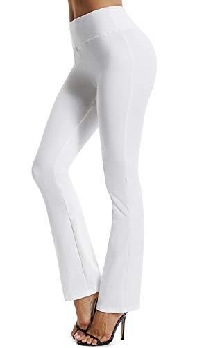 FITTOO Yoga Pantalon Femme Legging de Sport Extensible Pantalon à Pattes d'éléphant pour Fitness Jogging Danse, Blanc, L