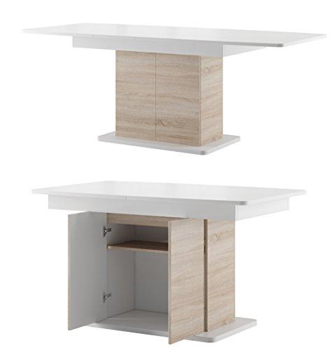 Furniture24 Tisch Star 03 Esstisch Säulentisch ausziehbar 140-210 cm mit 2 Schrank 2 Tür (Sonoma Eiche/Weiß)