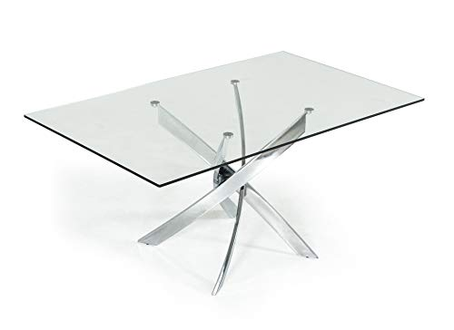 Limari Home The Padma Collection Modern Chrome Steel Metal and Tempered Glass Contemporary Rectangular Kitchen Dining Room Table