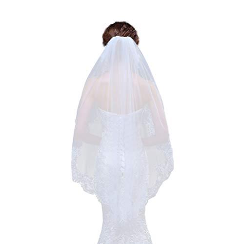 Lurrose Élégant voile de mariée avec peigne en dentelle Blanc 1/1,5