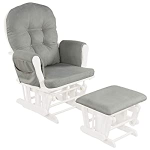 crib bedding and baby bedding costzon baby glider and ottoman cushion set, wood baby rocker nursery furniture, upholstered comfort nursery chair & ottoman with padded arms (light gray)
