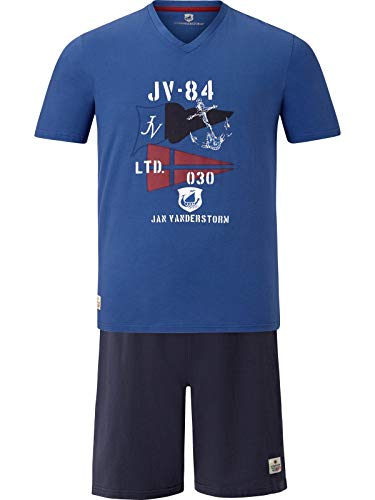 Jan Vanderstorm Herren Kurzer Schlafanzug Bengt blau 4XL (XXXXL) - 68/70