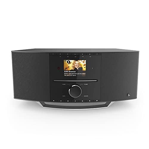 Hama DAB Radio Internetradio mit CD Player & DAB+ DIR3510SCBTX (Digitalradio WLAN, Spotify, Amazon Music, Bluetooth, Küchenradio mit UKW, CD, USB, AUX, 40W, Farbdisplay, Wecker, Fernbedienung) schwarz