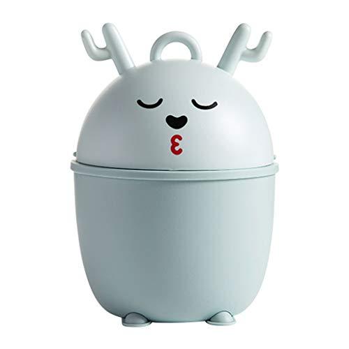 LOMJK Papeleras La Basura de Dibujos Animados de Escritorio Puede Creativo Mini Almacenamiento Cubo de Basura con la Tapa de la Sala Dormitorio Cocina Papelera Cubos de Basura (Color : Blue)