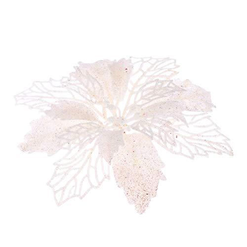 Artibetter 12 Piezas Brillo Artificial Flores de Pascua Flores Corona de Navidad Adornos de Flores de árbol de Navidad (Blanco)