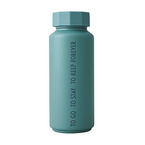 design letters Botella térmica/aislada (Verde Polvoriento) - Aspiradora de Doble Pared sin BPA, diseño nórdico, se Mantiene fría hasta 24 Horas/Caliente hasta 12 Horas, 500 ml, Prueba de Fugas, 280g