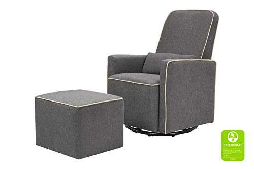 DaVinci Olive Upholstered Swivel Glider with Bonus Ottoman, Dark Grey with Cream Piping