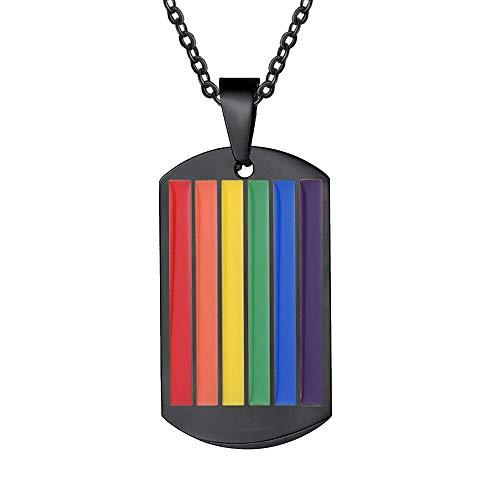 Jewelora - Collar personalizado con etiqueta para hombre, grabado, acero inoxidable, personalizado, para mujer, colgante, LGBT, gays, lesbianas, orgullo, joyería, bandera del arcoíris (Negro)