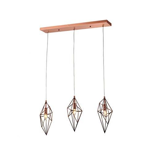 KOSILUM - Suspension design triple losange cuivré - Graz - Lumière Blanc Chaud Eclairage Salon Chambre Cuisine Couloir - 3 x 40W - - E14 - IP20