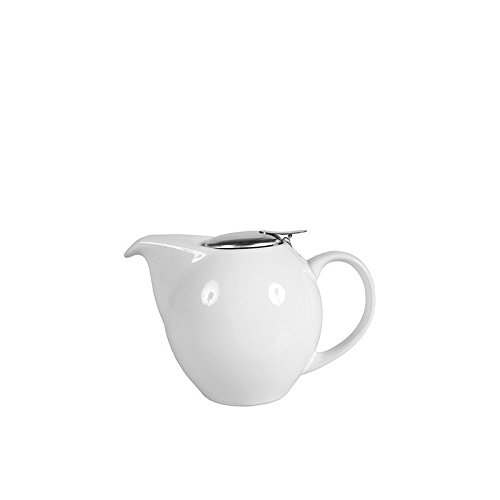 SEMA 98415 Théière Boule Céramique Blanche PM, Blanc, 18 x 17,5 x 10,5 cm