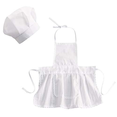 Aisheny Säugling Baby Jungen Mädchen Koch Hut Schürze Outfit Koch Kostüm Fotografie Fotografie Requisite für 0-2T Mädchen
