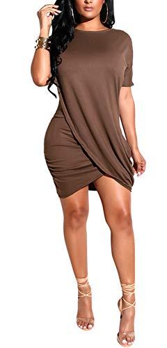 ECHOINE Women's Summer Striped Dresses, Short Sleeve T Shirt Dress Casual Tie Waist with Pockets