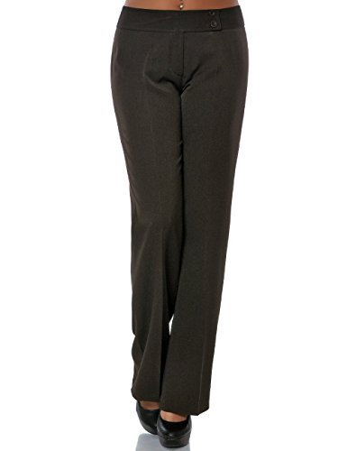 Damen Business Hose Stoffhose Straight Leg (Gerades Bein) No 15709 Braun M / 38