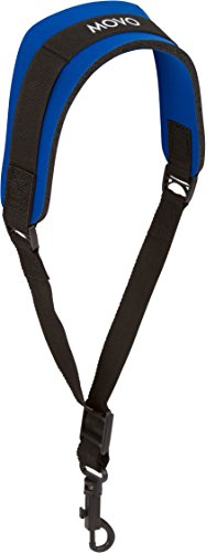 Movo MS-20R-B Music Instrument Neck Strap for Saxophones, Horns, Bass Clarinets, Bassoons, Oboes and More (Blue - Short Length)