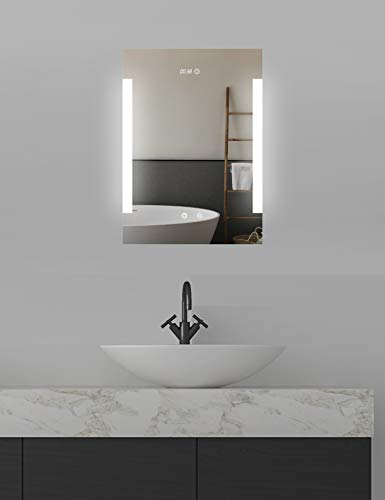 ApeJoy LED badkamerspiegel 50 x 70 cm, met digitale klok, anticondens, koud wit licht, LED-verlichting, aanraaksensor, energiebesparing, energie-efficiëntieklasse A + AJ03s