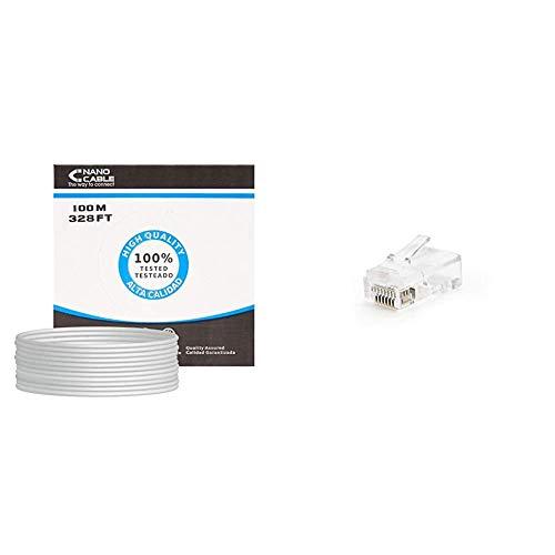 NanoCable 10.20.0302 - Cable de red Ethernet rigido RJ45 Cat.5e UTP AWG24, gris, bobina de 100mts + 10.21.0102-50 - Conector para cable de red Ethernet RJ45, 8 hilos Cat.5e UTP, bolsa de 50 unidades