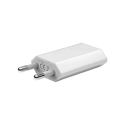 INVID Cargador USB blanco, 1 o 2 unidades, 1 A, 5 V, USB-A, adaptador de corriente, adaptador de corriente, enchufe de carga, cargador compatible con Apple iPhone 12 11 XR X XS Max 8 7 6 6S, Samsung