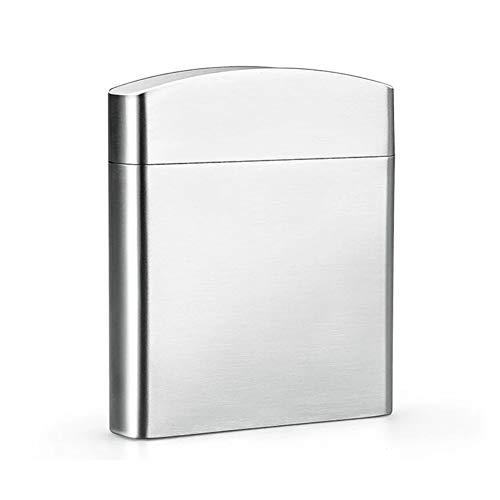 GXYAWPJ Caja De Cigarrillos De Acero Inoxidable Estilo Caballero Simple Y Elegante Que Nunca Se Oxida La Caja De Cigarrillos Puede Contener 20 Cigarrillos De Plata(Size:9.2CM x8.2CMx1.9CM)