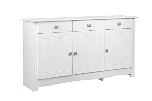 Venprodin Aparador para Salón de 3 Puertas y 3 Cajones MONTADO y Lacado en Color Blanco