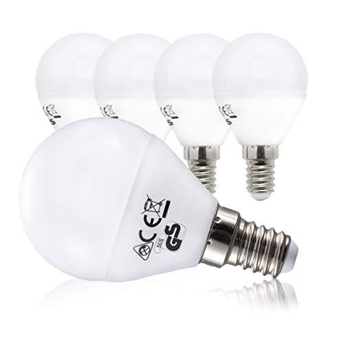 LED Lampe Energiesparlampe E14 5er Set LED Birne 5 Watt 470 Lumen Leuchtmittel ersetzt 40 Watt Glühbirne warmweiss 3000K Abstrahlwinkel 180° Tropfen