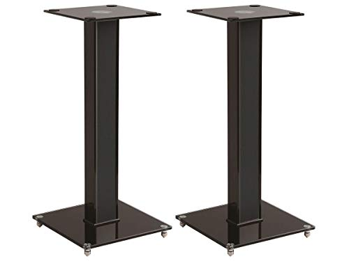 Monoprice Elements Speaker Stand - 18 Inch (Pair) with Cable Management, Strong Tempered Glass Base with Floor Spikes, 139496, Black