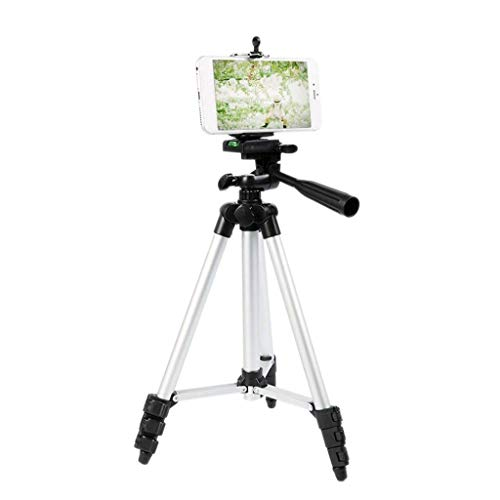 XYSQWZ Adjustable Mobile Phone Holder, Take a Picture Photography Foldable Mobile Phone Tripod - Camping Picnic Metal Camera Support (Color : Silver)