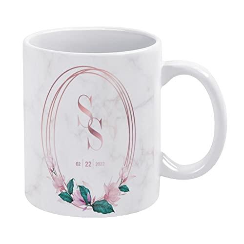 Taza de café blanca de 325 ml, diseño de monograma de boda, diseño de logotipo, acuarela, floral, taza de chocolate de cerámica para mujeres, jefe, amigo, empleado o cónyuge, regalos del día d