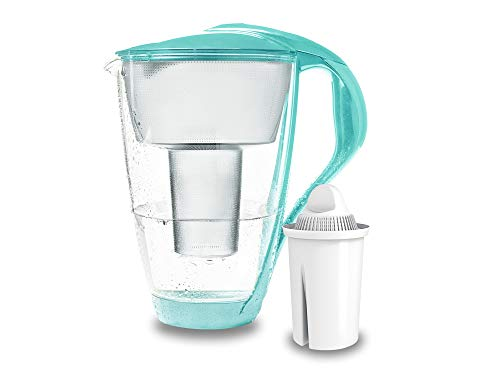 PearlCo - Glas-Wasserfilter (mint) mit 1 classic Filterkartusche - passt zu Brita Classic