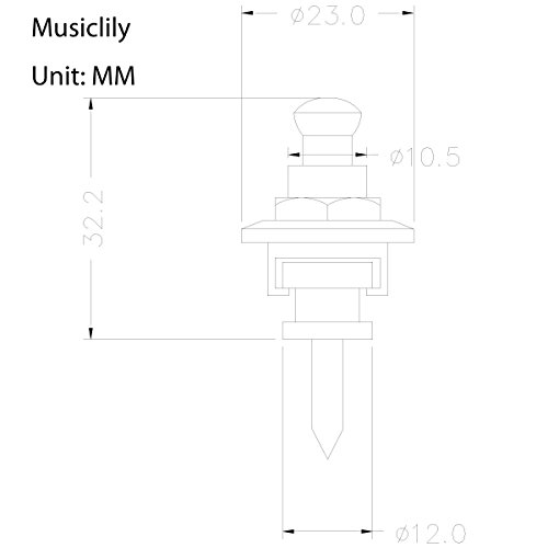 Musiclily金属製ストラップロックピンSecurityStrapLocksギター/ベース用、ゴールド(2個入)