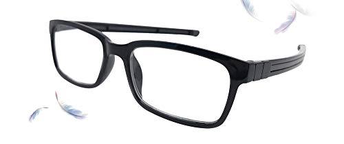 Double Legend 老眼鏡 おしゃれ 磁石で着脱 ブルーレイカット マグネット式 シニアグラス シリコンロープ 首に掛けられる ネックぶら下げ 超軽量 (ブラック, 3.50)