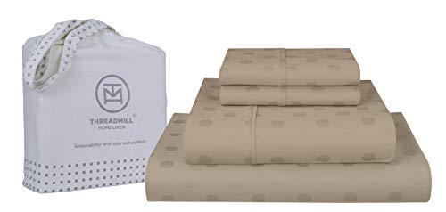 Threadmill Home Linen 300-Thread-Count Jacquard Best 100% Cotton Sheets & Pillowcases Set - 4 Piece Extra-Long Staple Combed Cotton Sateen King Size Sheets for Luxury Bedding with Deep Pocket, Beige