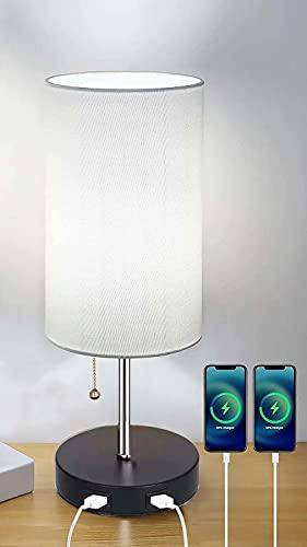 Jorunhe Lámpara de mesa USB, moderna lámpara de noche con puerto USB para recargar tus dispositivos, luz ambiental, sombra de tela, lámpara de mesita de noche perfecta para dormitorio (blanco crema)