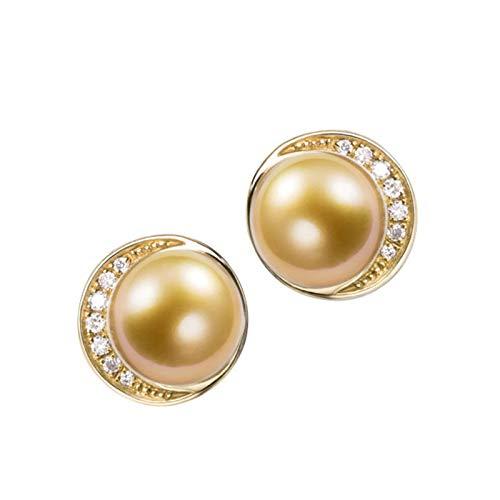 KnSam 18K Oro Amarillo Pendiente, Arete Redondo con Perla Diamante Blanco, Perla Oro, Color Oro