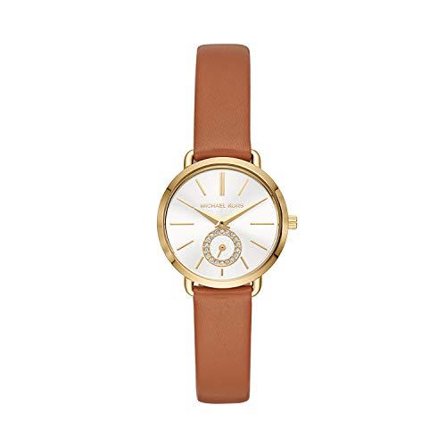 Michael Kors Damen Analog Quarz Uhr mit Leder Armband MK2734