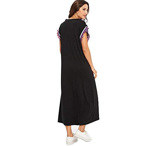 ilovgirl Sommerkleider für Frauen lose Kurze Ärmel Maxi getäfelte Casual-Mode schwarz kommen Kleid (L=EU40, Schwarz)