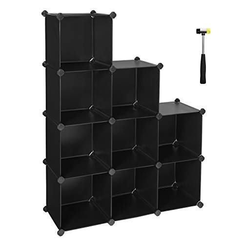 SONGMICS 9-Cube Storage Unit, Shoe Rack, DIY Shelving System, Stackable Cubes, PP Plastic Shelf, Wardrobe, Closet Divider, for Bedroom, Office, Black LPC115B01