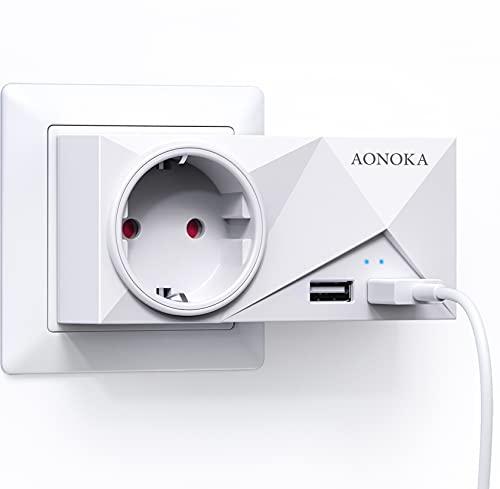 Steckdosen USB, AONOKA Wand Steckdose (4000W) mit 2 USB Anschluss (2.4A), Steckdosenadapter USB Adapter Steckdose Schuko Mehrfachstecker, 2 USB Ladegerät für DC,Lautsprecher,Laptop