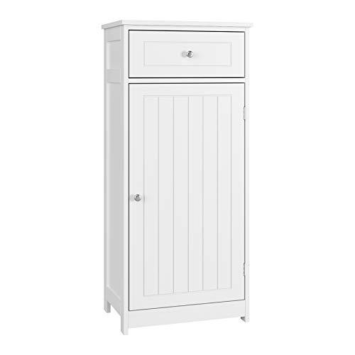 Homfa Badschrank Badezimmerschrank Badkommode Hochschrank Standschrank Kommode mit 1 Tür und Schublade für Badezimmer Holz weiß 100x45x30cm