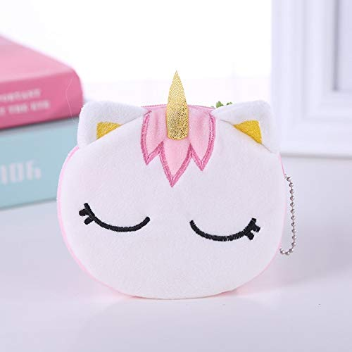Soft plush panda dog rabbit monkey cartoon lady coin purse mini cute zipper girl coin purse wallet key wallet-Unicorn Pink