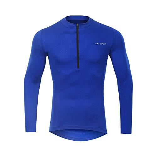 SKYSPER Radtrikot Herren Fahrradbekleidung Blaue Langarmjacke MTB Mountain für den Herbst Bequem Atmungsaktiv für Outdoor-Sportarten Fahrrad - 2