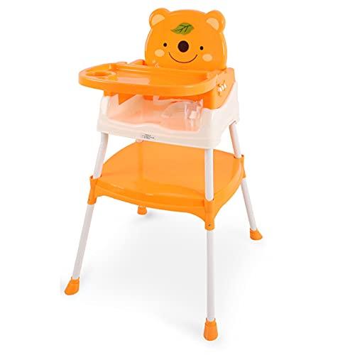XIAFEN Trona para bebé, Silla de bebé, ergonómica, fácil de Limpiar, Almohadillas Antideslizantes, Bandeja extraíble, para niños pequeños, de 6 Meses a 5 años,Naranja