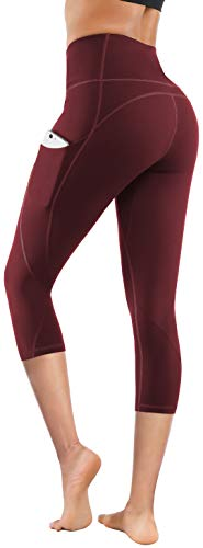 Lingswallow High Waist Yoga Pants - Yoga Pants with Pockets Tummy Control, 4 Ways Stretch Workout Running Yoga Leggings (Capris Bordeaux red, Large)