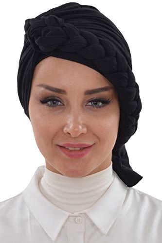 Instant Turban for Women Cotton Head Wrap Lightweight Head Scarf, Black