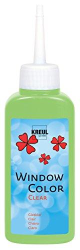 Kreul 40213 - Window Color Clear türkis 80 ml, Fenstermalfarbe auf Wasserbasis, mit glatter glasklarer Oberfläche, geeignet für Oberflächen wie Glas, Spiegel und Fliesen