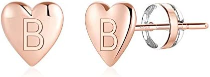 Heart Initial Gold Earrings for Girls S925 Sterling Silver Post Rose Gold Plated Dainty Kids product image