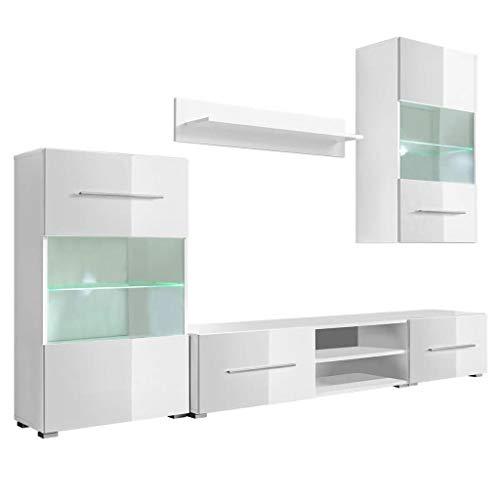 Tidyard Mobile Soggiorno/unità Mobile Vetrina TV a Parete Illuminazione LED, Parete Attrezzata, Mobile Soggiorno Moderno, Bianco 5 Pz