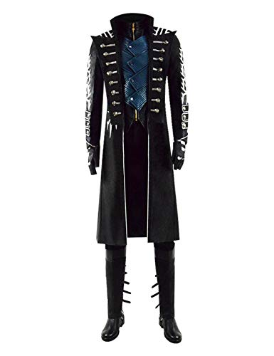 Vergil Costume Halloween Hot Game DMC Cosplay Costumes Full Set for Adult (X-Small, Black)